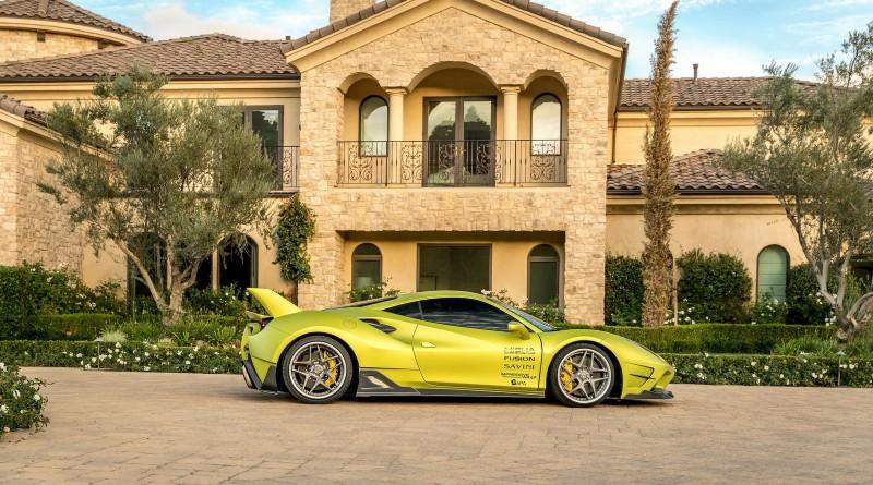 Satin Lime Green Misha Designs Ferrari 488