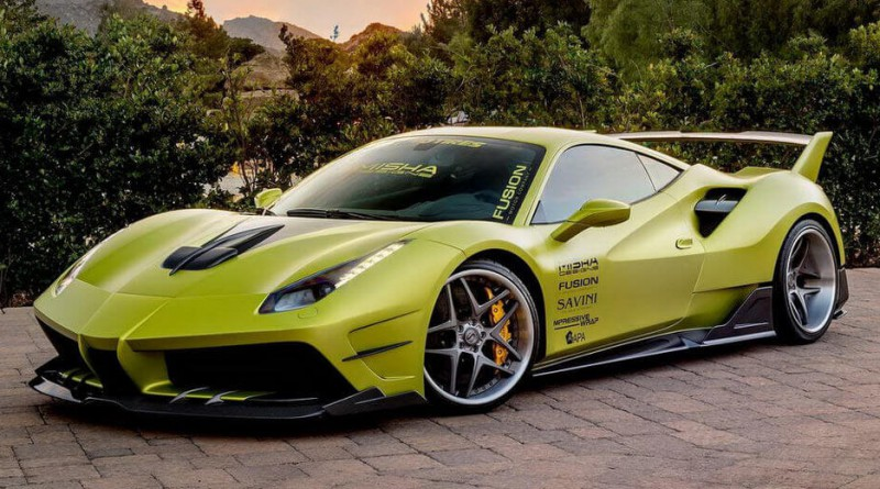 Satin Lime Green Ferrari 488 GTB